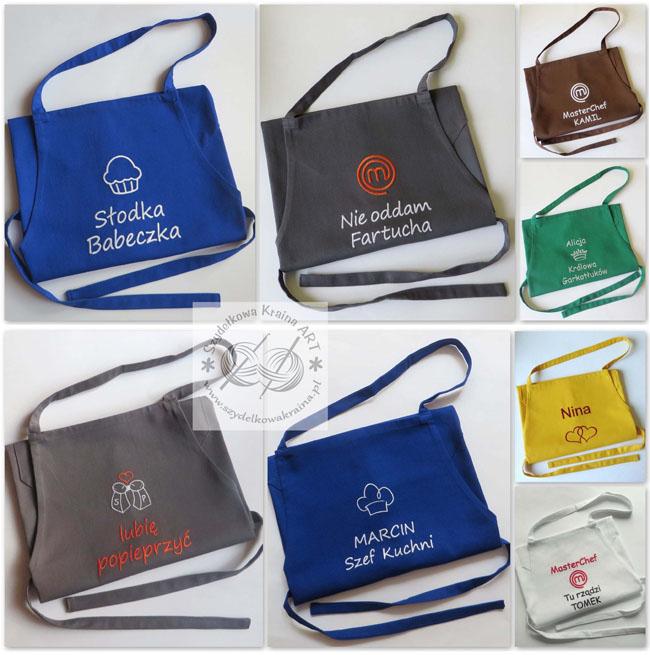 fartuch fartuchy z logo firmy firmowym haftem haftowane kuchenne z napisem tekstem śmiesznym prezent na zamówienie