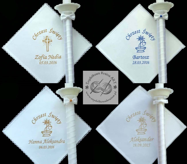 szatki i świece do chrztu komplety zestawy na chrzest szatka i świeca gromnica z haftem haftowana pamiątka pamiątki prezent