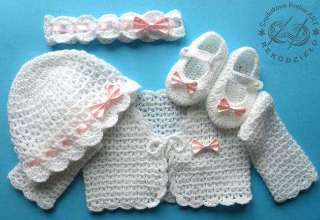 komplet szydełkowy na szydełku niemowlęcy dla niemowlaka dziewczynki rękodzieło czapeczka buciki opaska bolerko
