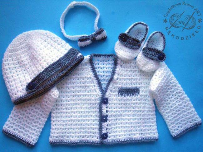 komplet szydełkowy na szydełku niemowlęcy dla niemowlaka chłopca rękodzieło czapeczka buciki muszka sweterek