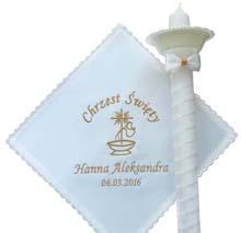 szatki i świece do chrztu zestawy na chrzest gromnice