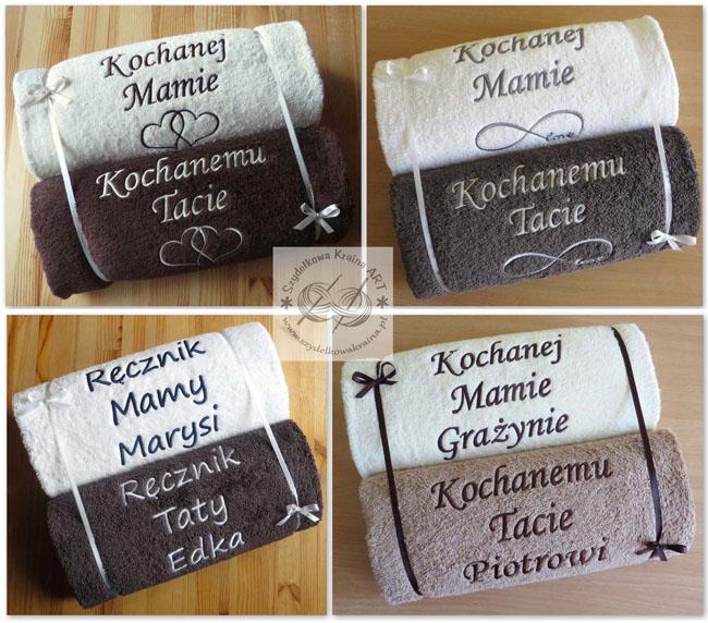 komplety zestawy ręczników z haftem ręczniki haftowane ręcznik z dedykacją napisem personalizacją na zamówienie prezent prezenty