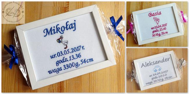 metryczki dla dzieci haftowane z haftem napisem tekstem personalizacją personalizowane prezent prezenty narodziny roczek