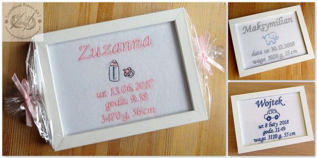 metryczki haftowane dla dzieci z haftem napisem tekstem personalizacją personalizowane prezent prezenty narodziny roczek