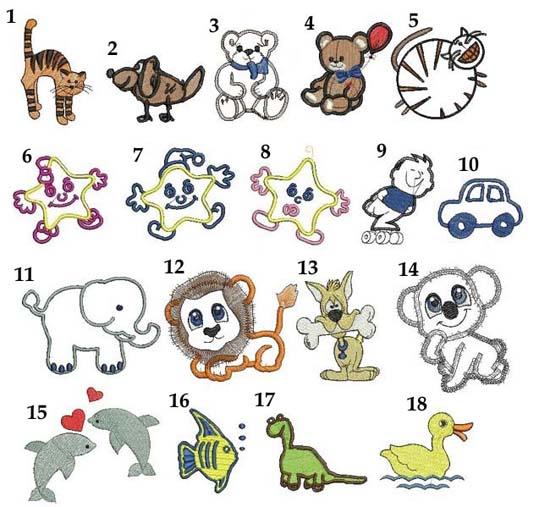 motywy dziecięce do haftu grafiki da dzieci