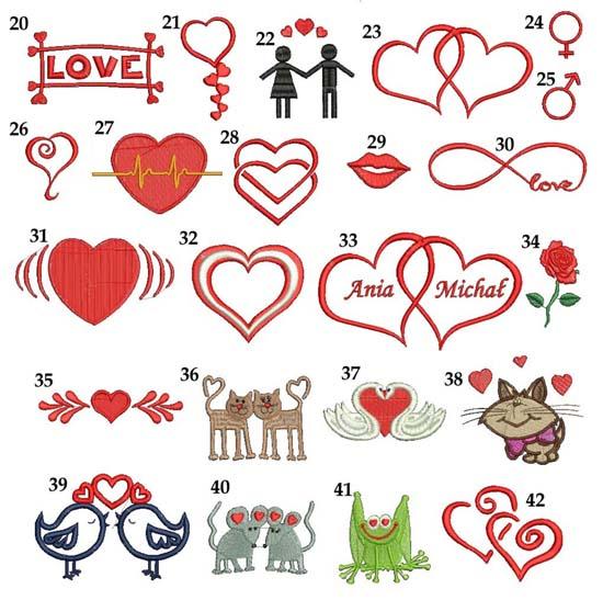 motywy miłosne do haftu grafiki