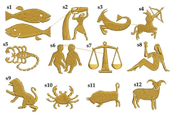motywy znaki zodiaku graficzne do haftu
