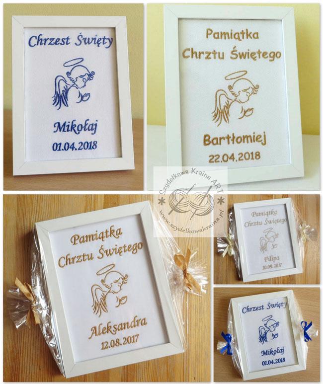 pamiątka pamiątki chrztu w ramce prezent na chrzest ramka obrazem haftowany z haftem napisem prezenty personalizowane
