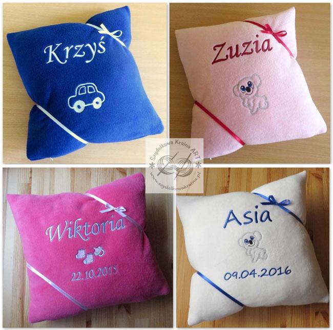 prezenty dla dzieci dzień dziecka święta poduszka poduszki haftowane z napisem imieniem personalizacją na zamówienie personalizowane prezent