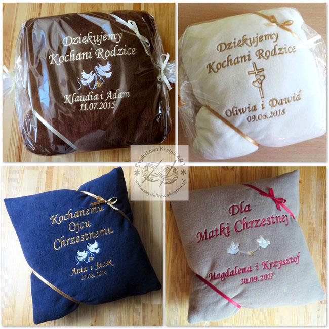 prezenty na podziękowanie dla rodziców podziękowania rodzicom chrzestnym dziadkom poduszka poduszki z haftem dedykacją haftowane