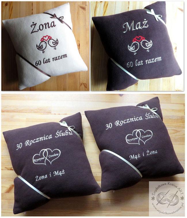 poduszki na ślub rocznicę haftowane poduszka z haftem dedykacją napisem imieniem personalizacją na zamówienie personalizowane prezent prezenty