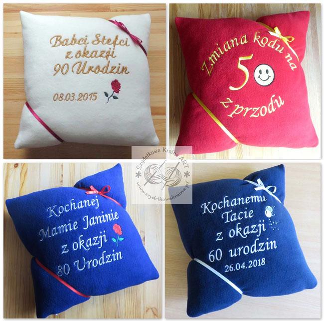 poduszki haftowane poduszka z haftem dedykacją napisem imieniem personalizacją na zamówienie personalizowane prezent prezenty urodziny urodzinowy