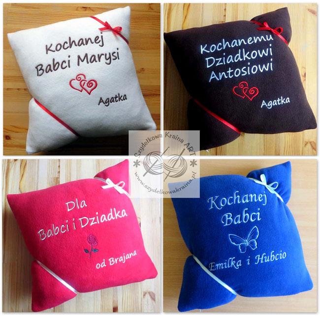 prezenty dla babci dziadka dzień babci dziadka poduszka poduszki haftowane z haftem dedykacją napisem imieniem personalizacją na zamówienie personalizowane prezent