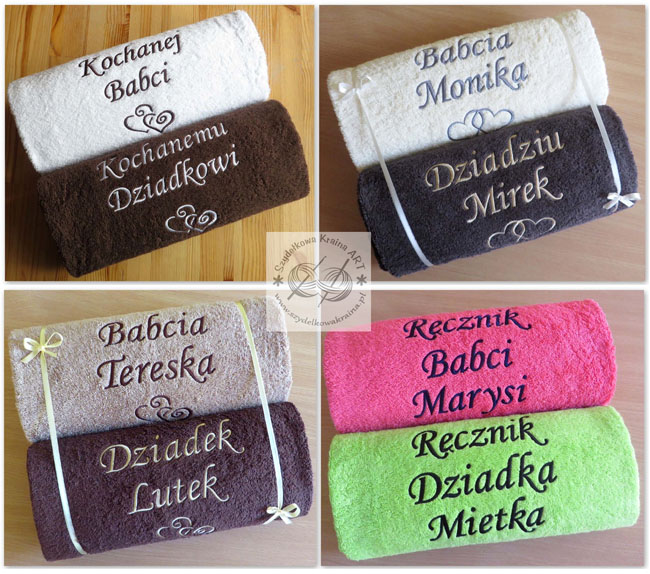 zestawy komplety ręczników z haftem ręczniki haftowane ręcznik z dedykacją napisem personalizacją na zamówienie prezent prezenty