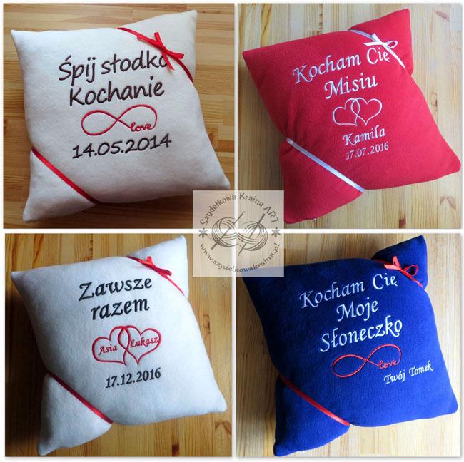 prezenty dla chłopaka dziewczyny niej niego walentynki rocznica dzień kobiet chłopaka mężczyzny poduszka poduszki haftowane z haftem
