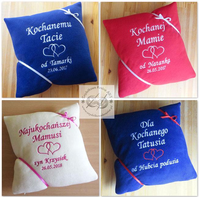 prezenty dla mamy taty dzień matki ojca poduszka poduszki haftowane z haftem dedykacją napisem imieniem personalizacją na zamówienie personalizowane prezent