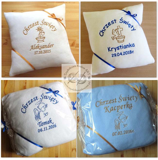 pamiątki chrztu personalizowane z personalizacją poduszki dla dzieci haftowane poduszka z haftem napisem imieniem prezent prezenty chrzest