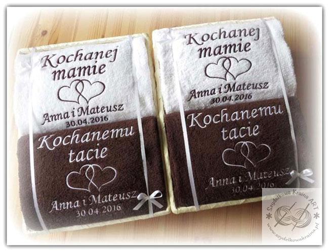 ręczniki haftowane w koszu ręcznik z haftem dedykacją napisem imieniem personalizacją na zamówienie personalizowane prezent prezenty