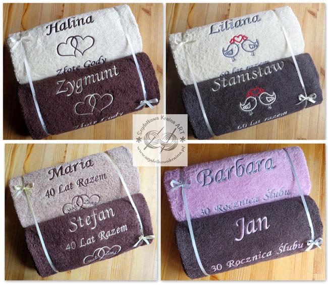 prezenty na rocznicę ręczniki haftowane ręcznik z haftem dedykacją napisem personalizacją na zamówienie personalizowane prezent