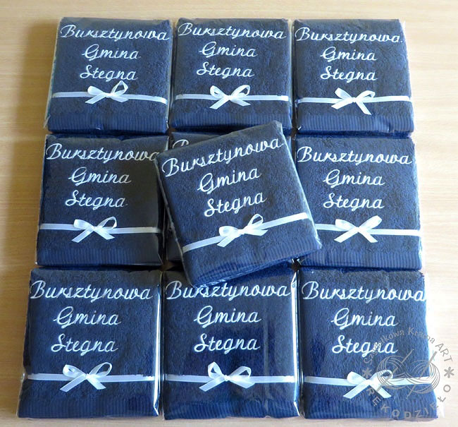 prezenty dla gminy ręczniki haftowane ręcznik z haftem dedykacją napisem logo