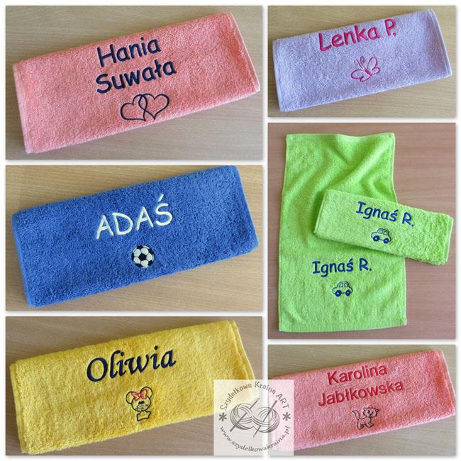 ręczniki dla dzieci dziecięce ręczniki haftowane ręcznik z haftem napisem imieniem na zamówienie personalizowane z personalizacją