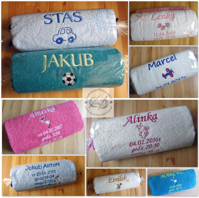 prezenty dla dziecka dziecięce ręczniki haftowane ręcznik z haftem napisem imieniem personalizowane na zamówienie