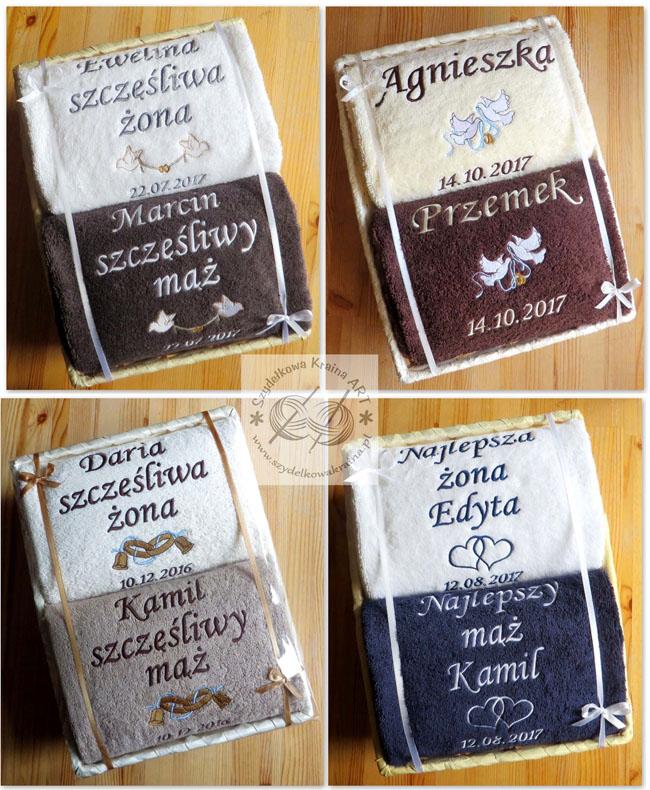 ręczniki haftowane na ślub w koszu z haftem dedykacją napisem imieniem personalizacją na zamówienie personalizowane prezent prezenty