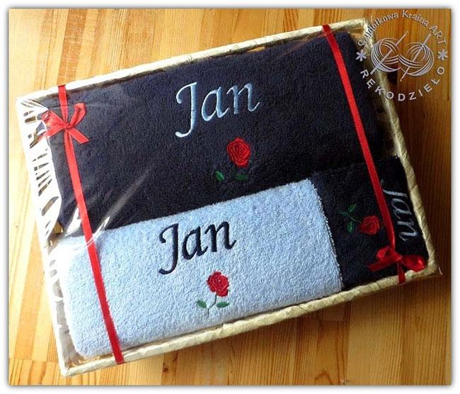 ręczniki w koszu haftowane ręcznik z haftem dedykacją napisem imieniem personalizacją na zamówienie personalizowane prezent prezenty