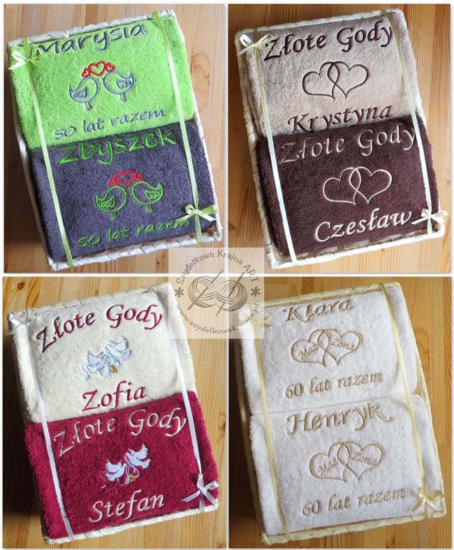 ręczniki haftowane na rocznicę w koszu z haftem dedykacją napisem imieniem personalizacją na zamówienie personalizowane prezent prezenty
