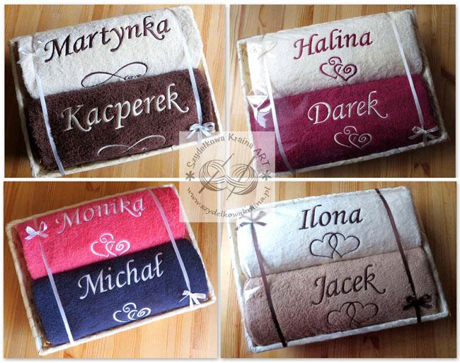 komplety zestawy ręczników w koszu ręczniki haftowane z haftem dedykacją napisem personalizacją na zamówienie prezent prezenty