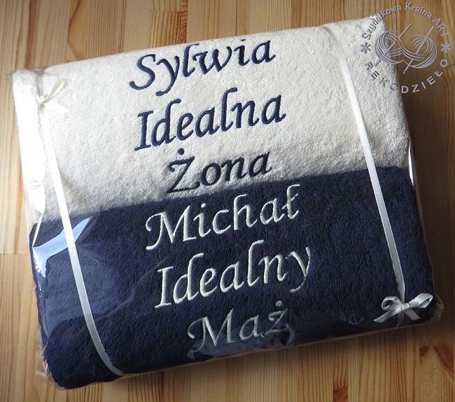 ręczniki z haftem na ślub ozdobne opakowanie