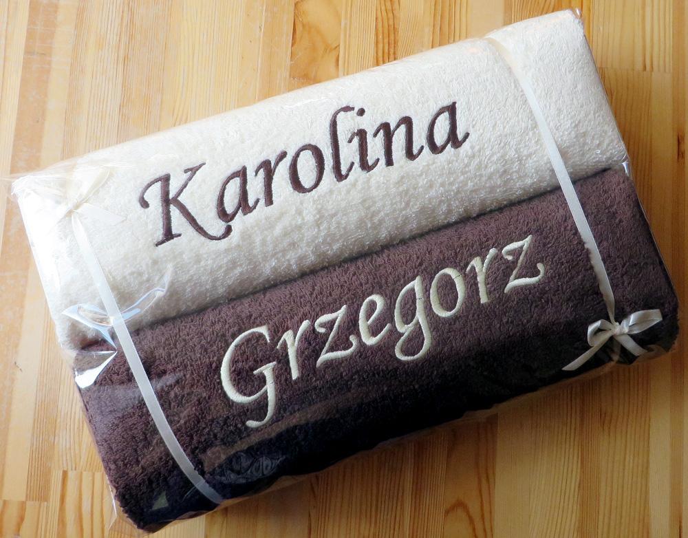 ręczniki z haftem na ślub rocznicę urodziny super prezent