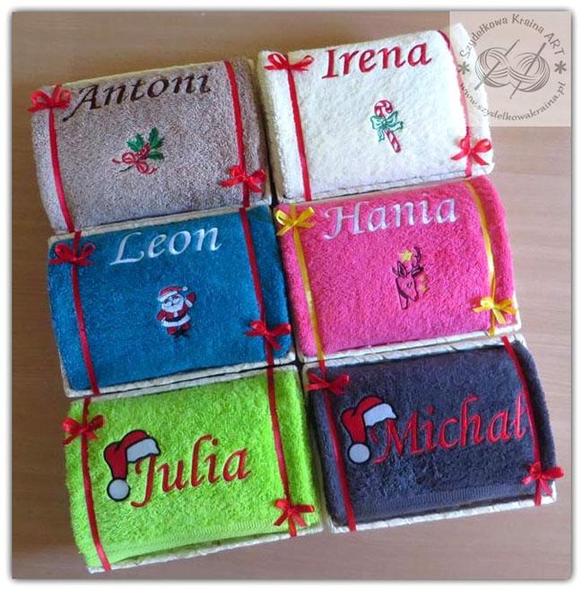 ręczniki z haftem w koszu haftowane ręcznik z imieniem napisem grafiką na zamówienie prezent prezenty