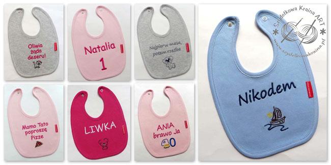 śliniaki z haftem haftowane śliniak dziecięcy dla dziecka bawełniany z napisem tekstem personalizacją prezent prezenty