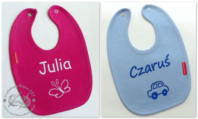 śliniaki z haftem haftowane śliniak dziecięcy dla dziecka bawełniany z napisem tekstem perosonalizacją prezent prezenty