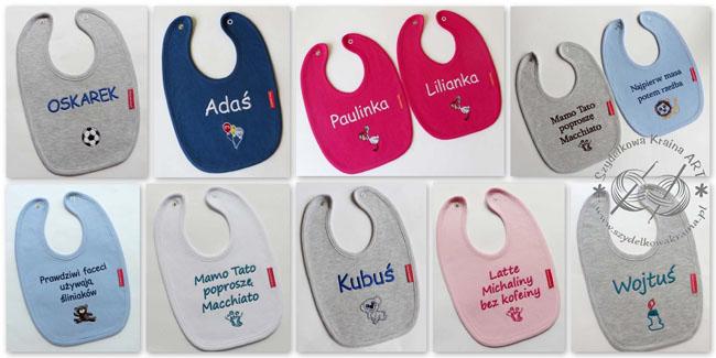 śliniaki z napisami haftem haftowane śliniak dziecięcy dla dziecka bawełniany z napisem tekstem perosonalizacją prezent prezenty