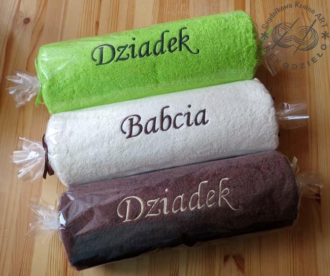 ręczniki z imionami - opakowanie ozdobne
