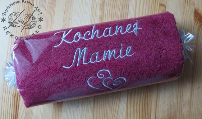 ręcznik z haftem - ozdobne opakowanie
