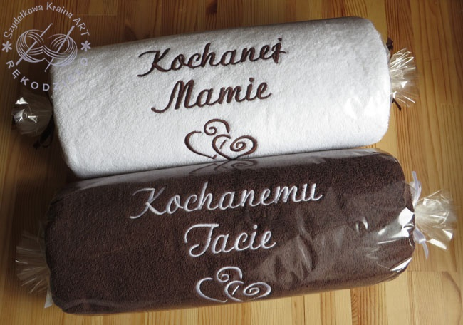 ręczniki z dedykacją w koszu