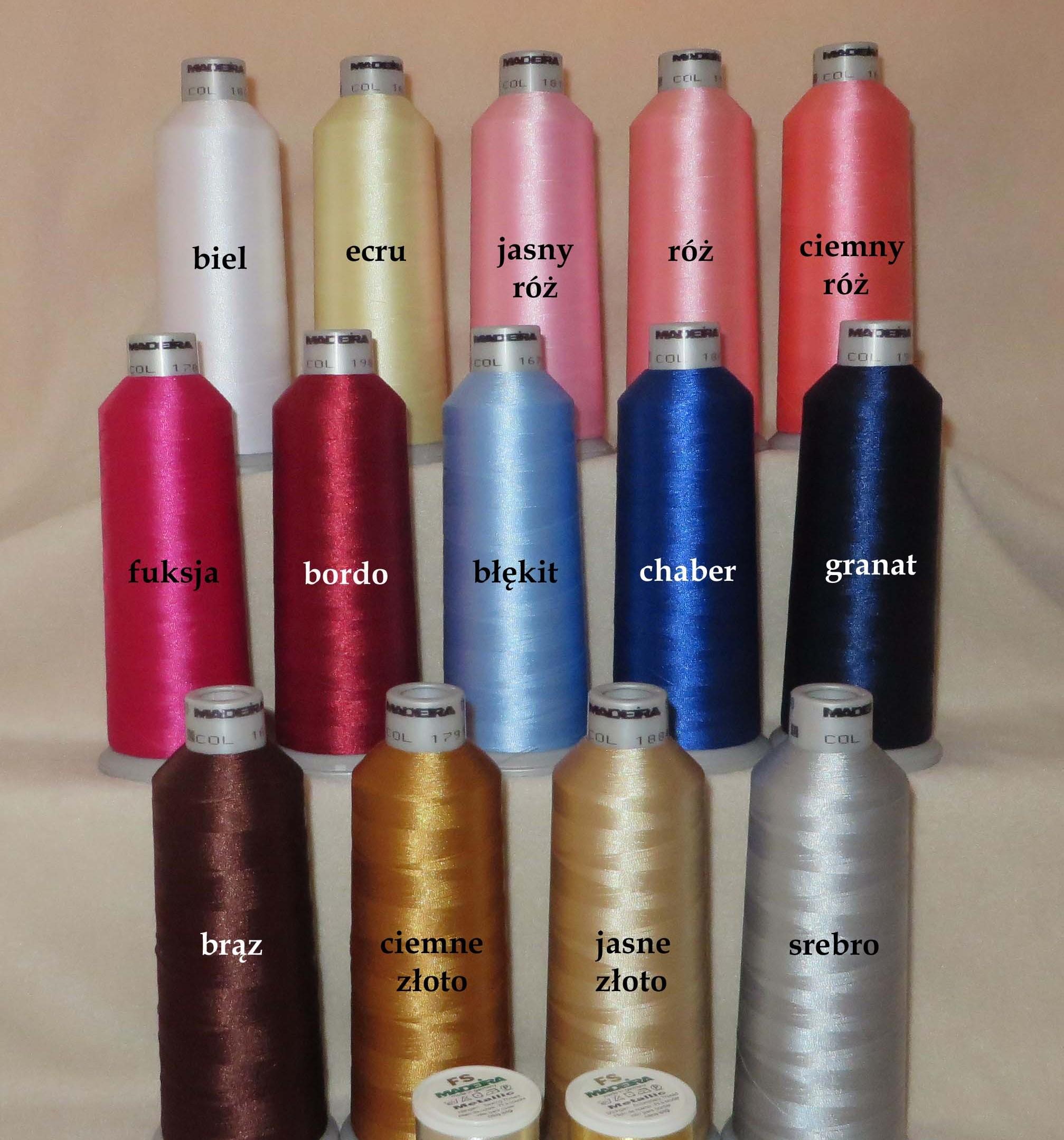 kolory nici do wyboru haft komputerowy maszynowy szydelkowakraina