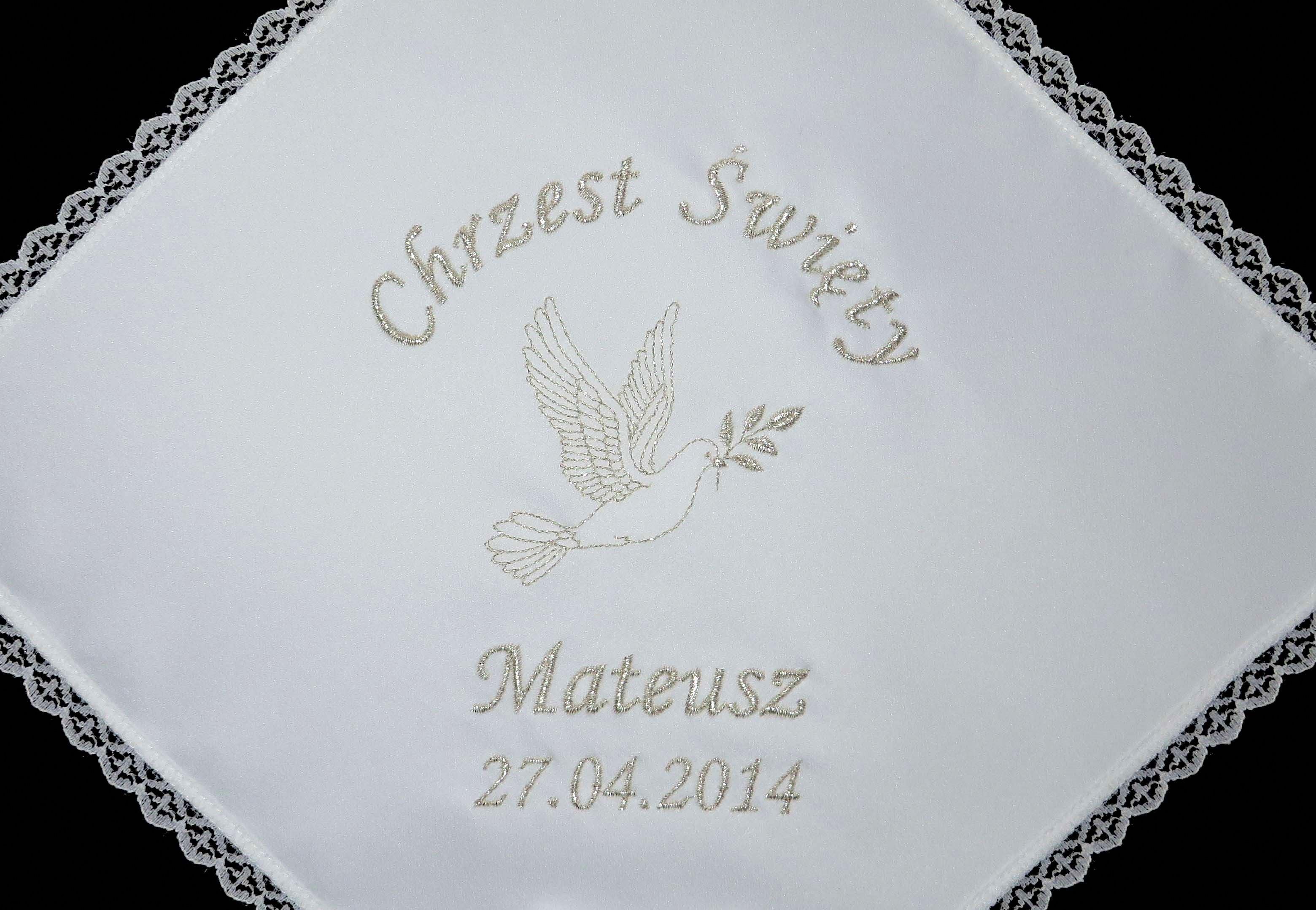 szatki do chrztu na chrzest krzyżmo chrzczonka chusteczka chusta chrzciny haftowane z haftem imieniem data pamiatka haft komputerowy maszynowy szydelkowakraina