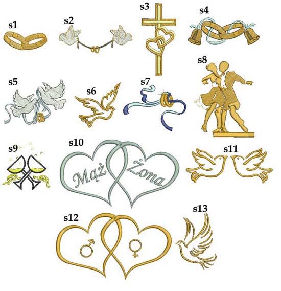 poduszka z haftem - grafiki ślubne