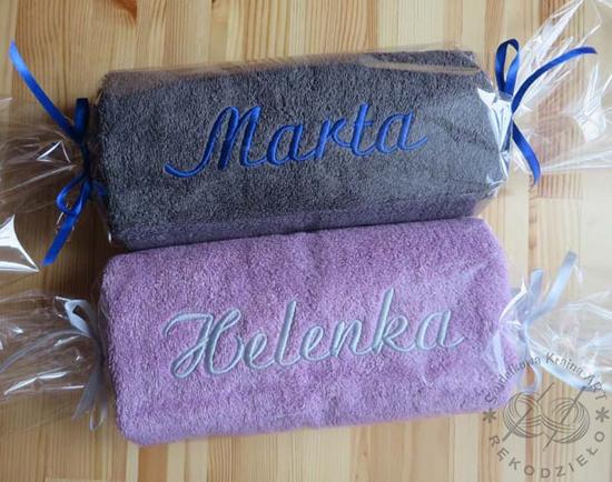 ręczniki z haftem - ozdobne opakowanie